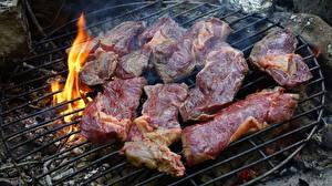 Картинки Огонь Мясные продукты Часть Нарезанные продукты Костер Grill Пища