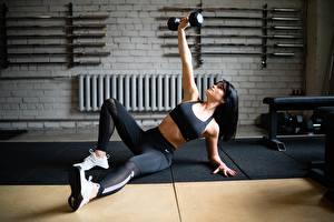 Обои Фитнес Тренировка Гантеля Ноги Кроссовки Руки Поза молодые женщины Девушки