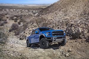 Картинка Ford Пикап кузов Синие F-150 Raptor Автомобили