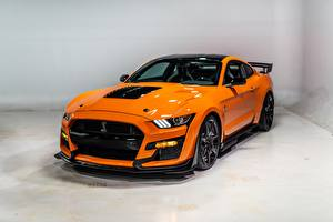 Обои Ford Оранжевая Металлик Mustang Shelby GT500 2020 Автомобили