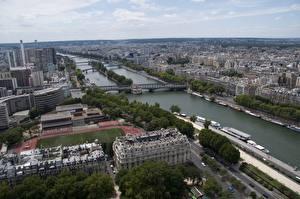 Обои Франция Здания Реки Мосты Париже Горизонта Сверху river Seine Города