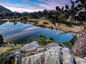 Картинка Франция Озеро Камень Ветки Aragnouet Pyrenees Природа