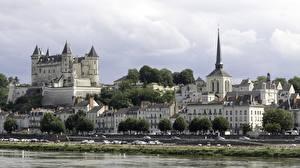 Обои Франция Речка Замки Церковь Дома Крепость Castle Of Saumur город