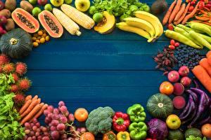 Фотографии Фрукты Овощи Доски Шаблон поздравительной открытки Продукты питания