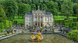 Картинки Германия Фонтаны Скульптуры Бавария Дворца Лестница Дерево HDRI Linderhof Города