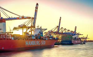 Фото Германия Гамбург Речка Пристань Корабли Контейнеровоз город