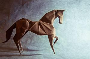Обои Лошадь Оригами Бумага