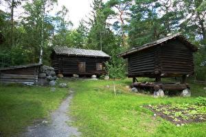 Фото Дома Камень Швеция Стокгольм Деревянный Тропа Траве Skansen