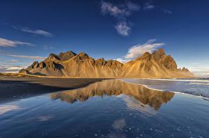 Фотографии Исландия Берег Гора Отражении Природа