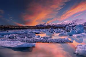 Фотография Исландия Побережье Рассветы и закаты Лед Jokulsarion Lagoon Природа