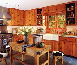 Обои Интерьер Дизайн Кухни Стол Из дерева