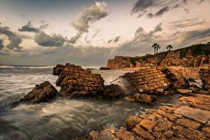 Фотографии Израиль Вечер Берег Море Скала Haifa