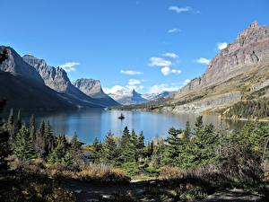 Картинки Озеро Горы Канада Скале Ель Rocky Mountains, Lake Moraine, Alberta Природа