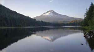 Фото Озеро Горы Лес США Камень Отражение Вулкан Mount Hood, Trillium Lake, Oregon Природа