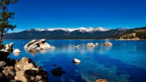 Картинки Озеро Камень Горы США Калифорнии Lake Tahoe, Sierra Nevada Природа