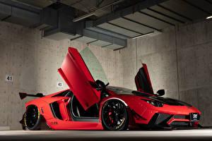 Картинки Lamborghini Красные Открытая дверь 2013-19 Performance Aventador Limited Edition машины