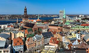 Фотография Латвия Дома Крыша Riga город