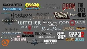 Фотография Логотип эмблема Ведьмак 3: Дикая Охота Fallout Dark Souls Doom Diablo Grand Theft Auto Assassin's Creed Серый фон компьютерная игра