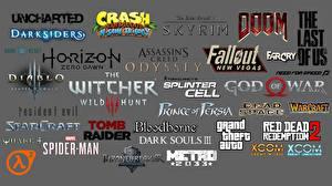 Фотография Логотип эмблема Ведьмак 3: Дикая Охота Fallout Dark Souls Doom Diablo Grand Theft Auto Assassin's Creed Серый фон
