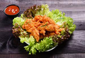Фотография Мясные продукты Овощи Курятина Доски Кетчупом Пища