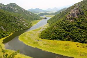 Картинки Черногория Река Гора Утес Crnojević River, Podgorica Природа