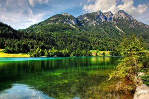 Фото Горы Леса Озеро Австрия Пейзаж Lake Hintersteinerгор, Tirol Природа