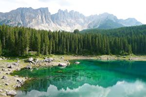 Картинки Гора Лес Камни Озеро Италия Bergsee, South Tyrol Природа