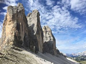 Фотография Горы Италия Скале Альпы dolomite Alps, Tre Cime Природа