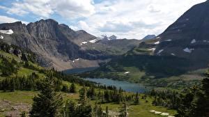 Фото Горы Озеро Парк Штаты Скала Montana, Glacier National Park Природа