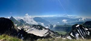 Фотография Горы Пейзаж Альп Снег Траве Mont Blanc
