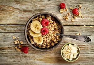 Картинки Мюсли Орехи Доски Завтрак Миска