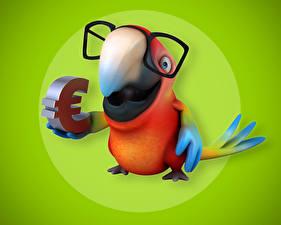 Фотографии Попугаи Евро Цветной фон Очки Клюв 3D Графика