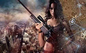 Фотография Винтовка Снайперская винтовка Zoe Saldana Colombiana Фильмы Девушки