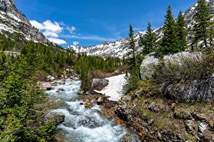 Фото Река Парки Гора Камни США Grand Teton National Park, Wyoming