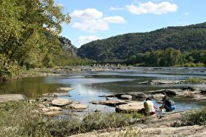 Фотографии Река Камни Мосты Штаты Утес Potomac River Природа