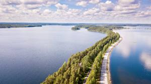 Фотографии Дороги Лес Озеро Финляндия Горизонта Сверху Punkaharju, province of South Savo Природа