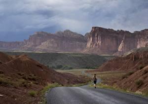 Обои для рабочего стола Дороги Гора США Парки Бег Утес Каньоны Grand Canyon, Arizona, Colorado plateau Природа
