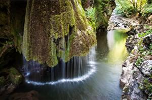Фото Румыния Парки Камни Водопады Мха Bigar waterfall, National Park Beusnita Природа