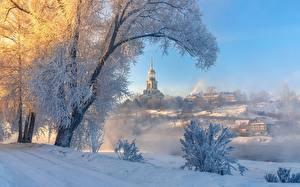 Фото Россия Зима Церковь Здания Деревья Тумане Снеге Torzhok, Tver region Города