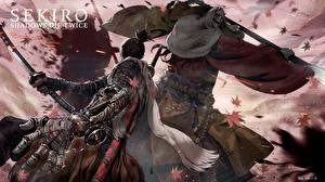 Картинки Sekiro: Shadows Die Twice Самураи Драка С мечом Ниндзя Игры