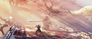 Картинка Sekiro: Shadows Die Twice Самурай Мечи Драка Лучи света Ниндзя компьютерная игра