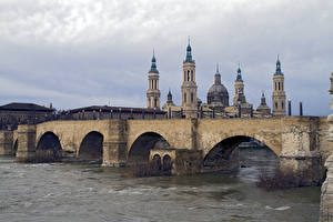 Фото Испания Мост Речка Церковь Saragossa, Puente de Piedra, Cathedral-Basilica of Our Lady of the Pillar, river Ebro, Aragon Города