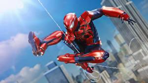 Обои Человек паук герой Прыгать компьютерная игра