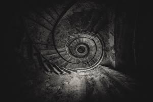 Фото Лестницы Черно белые Вид снизу Старый