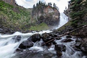 Фотография Камень Водопады Парки США Скале Йеллоустон Wyoming Природа
