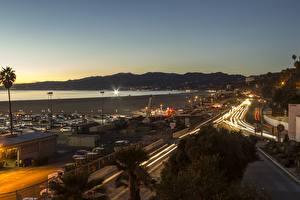 Фото Рассвет и закат Побережье США Калифорния Los Angeles County, Santa Monica Города