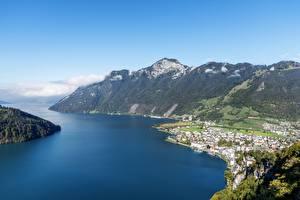 Фотография Швейцария Горы Озеро Сверху Ingenbohl, Canton of Schwyz, Lake Lucerne Природа