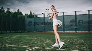 Картинка Теннис Ноги Красивая Спортивная Katrin Sarkozy, Anton Harisov молодая женщина Девушки