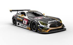 Обои Стайлинг Mercedes-Benz Белый фон Черных AMG GT3 2019 Team Black Falcon машины