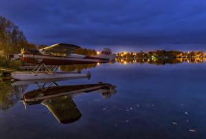 Обои Штаты Аляска Вечер Озеро Гидроплан Отражение Lake Spenard Anchorage Природа